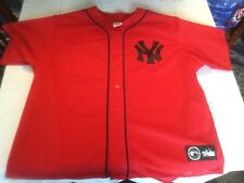 New York Yankees SEWN Majestic MLB Baseball Jersey Mens 2XL Red Alternate Mesh