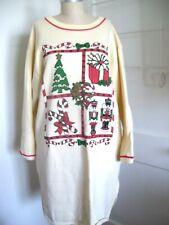 Vintage Avon Style Christmas Theme Fleece Nightshirt Size XL Ivory