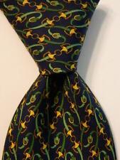 GUCCI Men's Silk Necktie ITALY Luxury EQUESTRIAN Horse Stirrups Blue/Green EUC