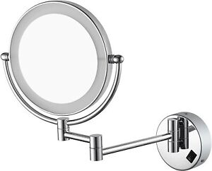 LED Lighted Luxury Wall Mounted Mirrors Makeup Shaving Mirror Bathroom x10 Magni