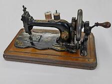 More details for antique bradbury (1890s) hand-cranked sewing machine with original case.