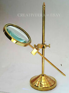 Vintage Brass Table Marine Magnifier Magnifying Reading Glass W Nautical Stand