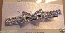 new Fashion Jewerly Clear Rhinestone Crystal Hair Barrette Clip 2.5 inches BOW