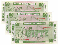 British Armed Forces UK 6th Ser. 1972 Lot Set of 3 Notes: 50 New Pence UNC Crisp