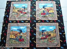 TRAIN FABRIC ANTIQUE TRAIN PILLOW PANELS 4 PILLOWS or QUILT TOP fabric NEW!