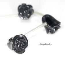 NOIR BLACK ONYX GEMSTONE BLACK CARVED TULIPS FLOWER 11X9MM LOOSE BEADS 15 BEADS