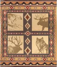 Wildlife ~ Bear/Moose/Elk/Wolf Silhouettes Fleece Afghan Throw