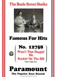 JohnTefteller's Blues Images Poster Beale Street Sheiks Rare Paramount Artwork