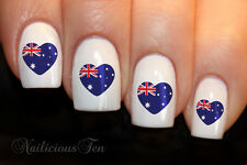 Australian Flag Lovehearts Nail Wraps Art Water Transfer Decal for Australia Day
