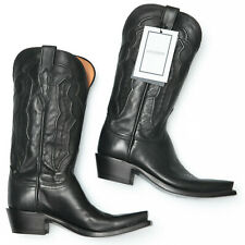 Lucchese Grace Black Ranch Hand M5006 Black Leather Cowboy Boots - Womens 6.5 B