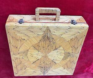 1920s VINTAGE FOLK ART WOODEN MATCHSTICK BRIEFCASE - COLORFUL INTERIOR DESIGN