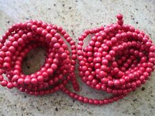Vintage Christmas Tree Garland Red Wood Cranberry Beads Smaller Size Primitive