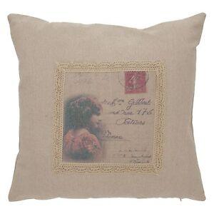 Clayre & Eef Pillowcase Pillow Cover Girls Postcard Print Linen Shabby Chic