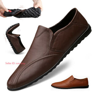 Men Comfort Casual Leather Shoes Slip On Moccasins Loafers Driving Shoes Soft