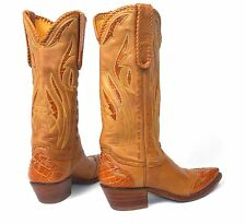 Stallion Deer Tanned Cowboy Boots w/Alligator Wingtips Inlays - Wm's Sz 7M