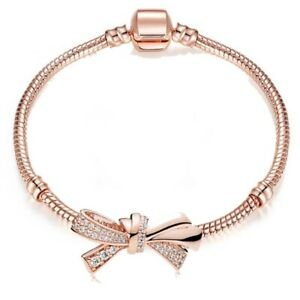 ROSE GOLD plated MADE WITH SWAROVSKI CRYSTALS Tennis bracelet LoveKnot Gift Xmas