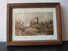 Aquarelle Originale non Signée et sous Verre - Chateau sur Rivière  - XIXeme