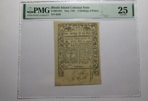 1786 2 Shillings 6 Pence Rhode Island RI Colonial Currency Note Bill PMG VF25