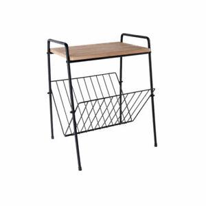 Wood metal side table magazine rack organizer living room storage holder floor