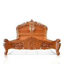 OAK or MAHOGANY wood, Natural finish Super King size  French Style Rococo Bed