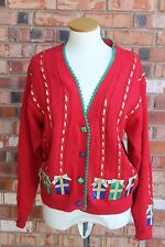 Design Options Womens Medium Christmas Ugly Sweater Presents Red Cardigan Ribbon