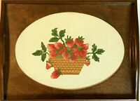 Brown wood serving tray with cross stitch center strawberries fruit decor 9x12