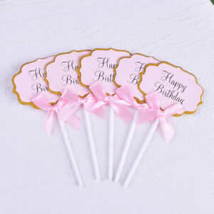 5PC DIY Blank Birthday Cupcake Topper Decoration Cake Top Flag Party Baby Shower