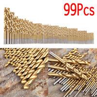99PCS HSS Twist Drill Bit Set Titanium Coated Home Metal Drilling Tool 1.5-10mm