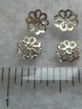 50 Silver Tone Flower Bead Caps  Jewelry Findings Fits 8-16mm Bead