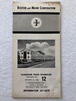 Vintage 1965 Boston and Maine Railroad Train Schedule Passenger Timetable No. 12