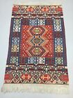 Fine Vintage Turkish Kilim 180x115 cm Wool Kelim Rug Blue Red Beige Gold Medium