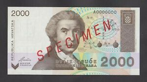 CROATIA 2000 Dinar 1992 UNC   P23s   Official SPECIMEN note with all zeroes SN