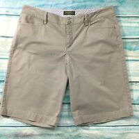 Eddie Bauer Womens Shorts size 14 Gray Khaki Long Bermuda Walking Cotton Stretch
