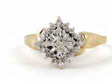 10k Yellow Gold Round and Baguette Diamond Cluster Right Hand Ring .50ct