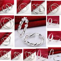 Femme Boucles d'oreilles Créoles Ovale 925 Argent Sterling Plaqué Hook Bijoux