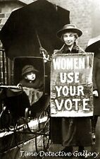 Woman With Suffrage Sign - Historic Photo Print