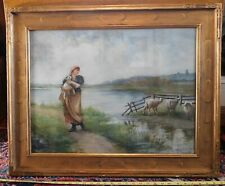 Original Watercolor painting Frantisek X. Prochazka Czech landscape lamb farmer