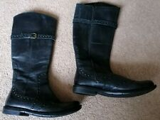 Hush Puppies Black Leather Flat Knee High Boots UK Size 4 Good Condition