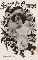 1908 VINTAGE GLAMOUR ACTRESS MISS GERTIE MILLAR POSTCARD - sent to Howlong, NSW