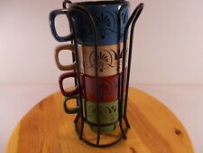 New Crofton Set of 4 Coffe Mugs With Bent Wire Holding Wrack Multi Colored 12 oz