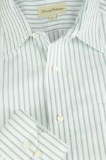Tommy Bahama Men's White Pearl & Black Striped Cotton Dress Shirt 16.5 x 36/37