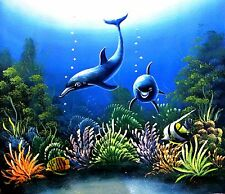 "Kozak-""Dolphin World""-Original Oil Painting on Canvas, Hand Signed by the Artist"