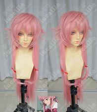 Cosplay The Future Diary Gasai Yuno Anti- Alice Long Pink Straight Hair Full Wig