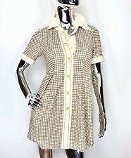 Chloe Chloé Brown & Cream Large Buttons Mini Length Shirt Dress