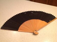 Ladies Folding Hand Fan Wood & Paper Black W/ Silverish White Birds Stunning