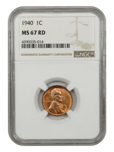 1940 1c NGC MS67 RD - Lincoln Cent