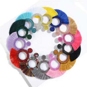 Ladies Girls Boho Tassel Earrings Hollow Fan Drop Ear Stud Dangler Women Jewelry