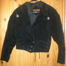Rock Creek Womens Black Suede Leather Jacket w/ Indian head buttons/Size Small