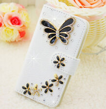 Bling Crystal Diamonds Pearls PU leather flip slots stand wallet case cover #13