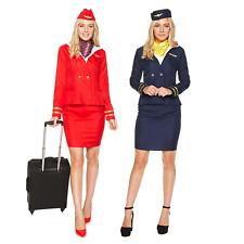 Womens Flight Attendant Costumes Air Stewardess Hostess Fancy Dress Outfit